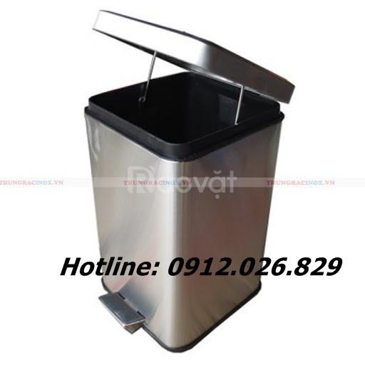 Thùng rác inox đạp chân vuông giá rẻ