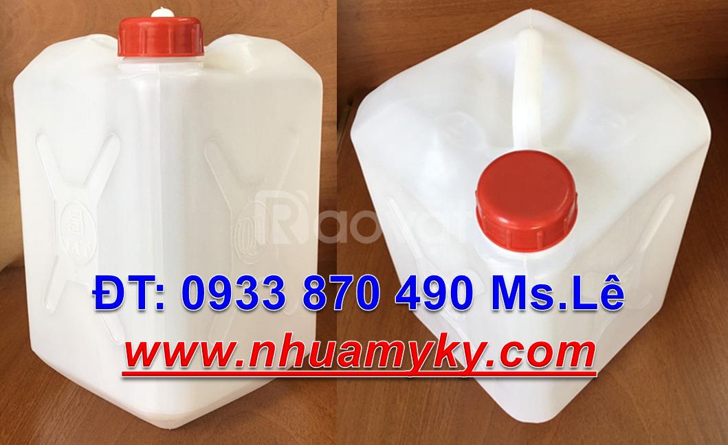 Can nhựa 10 lít dẹp đựng tinh dầu, can nhựa 20 lít xanh đựng vi sinh