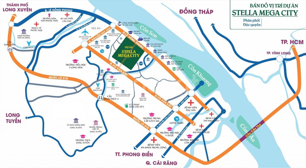Stella Mega city mặt tiền đường Võ Văn Kiệt sổ đỏ từng nền TT 30%