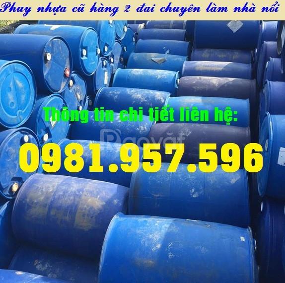Phuy nhựa cũ nắp kín, phuy nhựa cũ 2 nắp nhỏ, phuy nhựa 220L (ảnh 4)