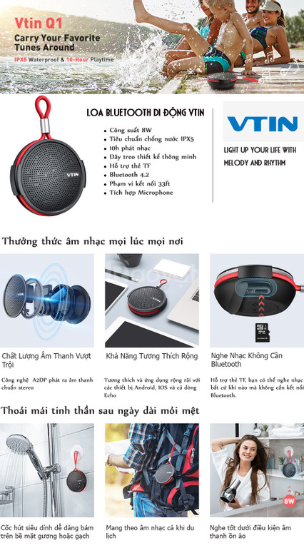 Loa chống nước không dây di động vtin q1 bluetooth cho phòng tắm