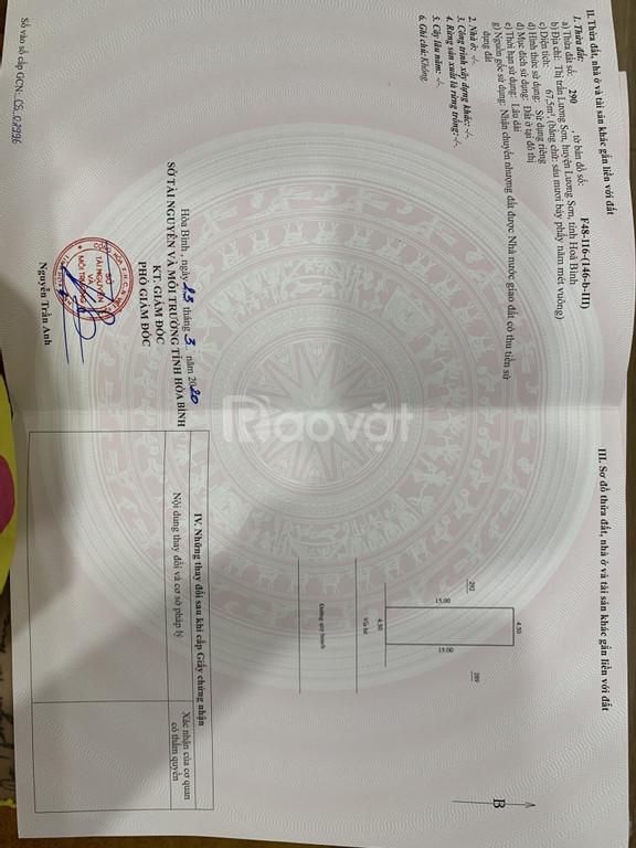 Chính chủ cần bán 68m2 đất SĐVV phố chợ Lương Sơn Hòa Bình.