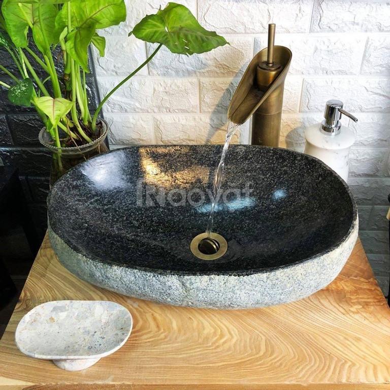 Chậu rửa mặt lavabo đá tự nhiên, đá cuội, đá cẩm thạch ngoài trời rẻ