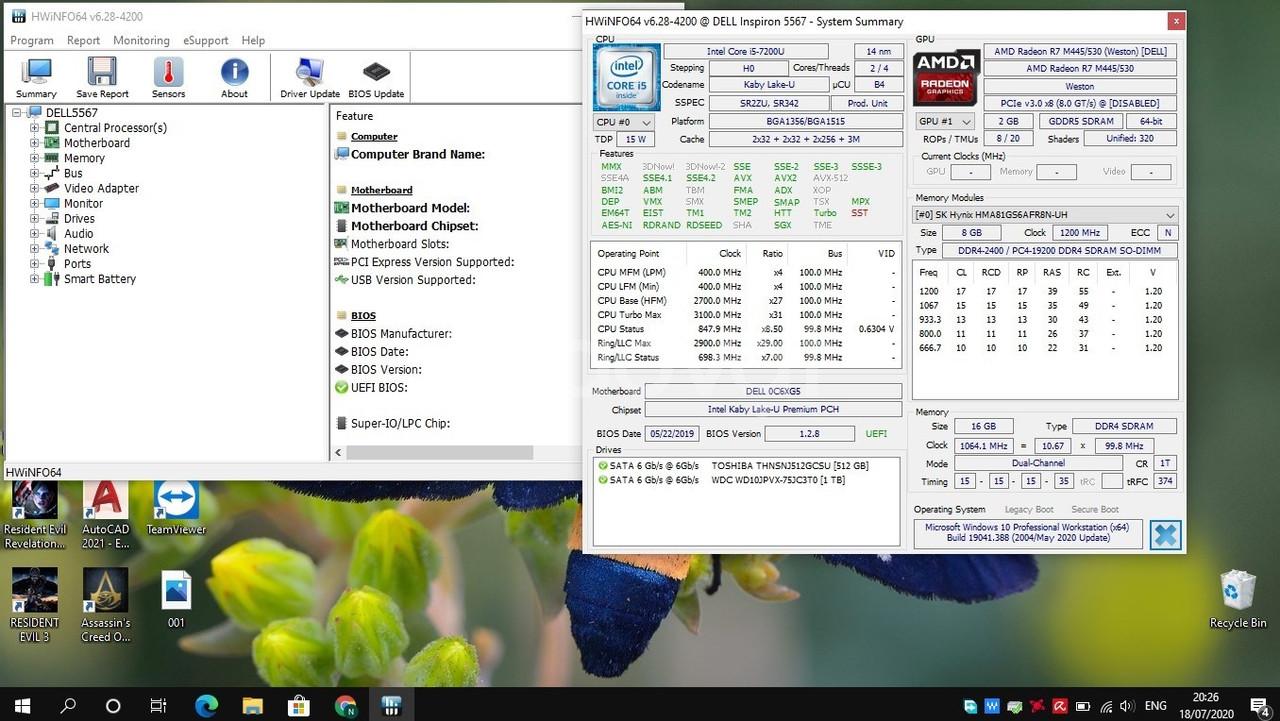 Dell Inspiron 5567-i5 đời 7-VGA rời 2G- 16Gb Ram- SSD512-HDD1T