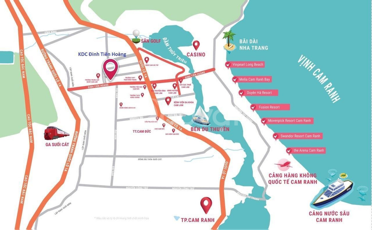 Bán đất Cam Lâm cách Bãi Dài 5 phút di chuyển chỉ 999tr/nền