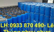 Bán thùng phuy sắt 220L đựng hóa chất, phuy nhựa 220L nắp kín màu xanh