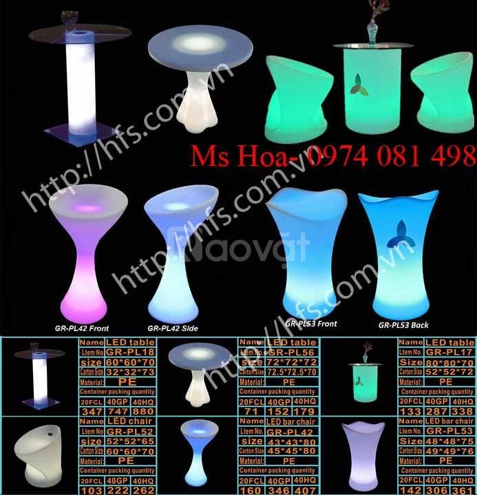 Bàn ghế cafe led, bàn ghế nhựa led đổi màu (ảnh 1)