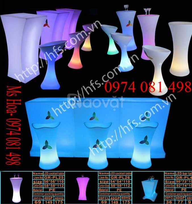 Bàn ghế nhựa cafe phát sáng, bàn ghế đèn led đổi màu giá tốt (ảnh 1)