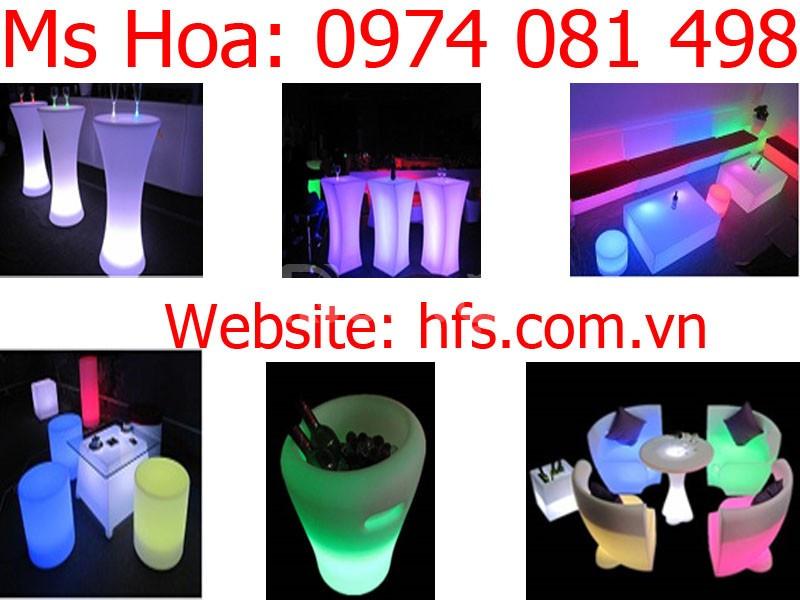 Bàn ghế cafe led, bàn ghế nhựa led đổi màu (ảnh 6)