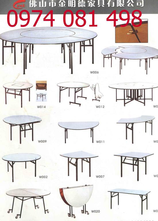 Bàn tròn mặt kính xoay, bàn ghế tiệc