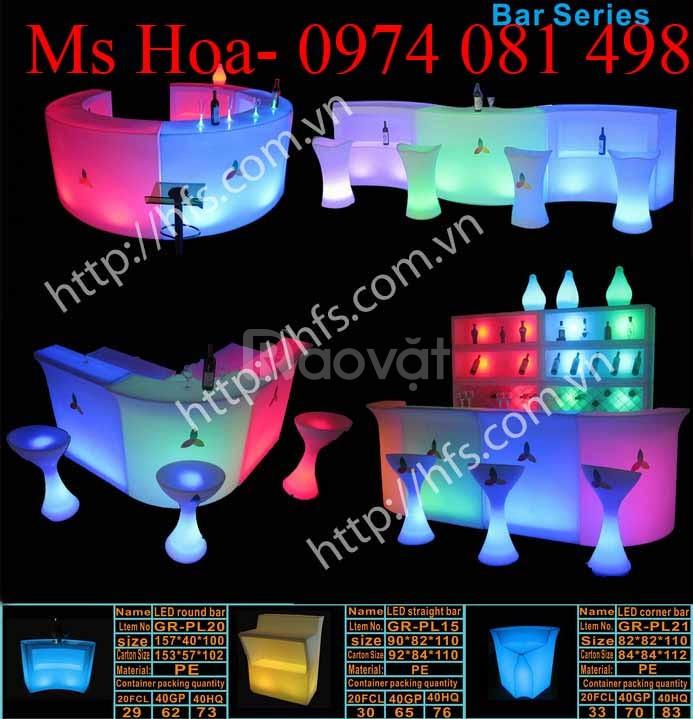 Bàn ghế nhựa cafe phát sáng đổi màu (ảnh 6)
