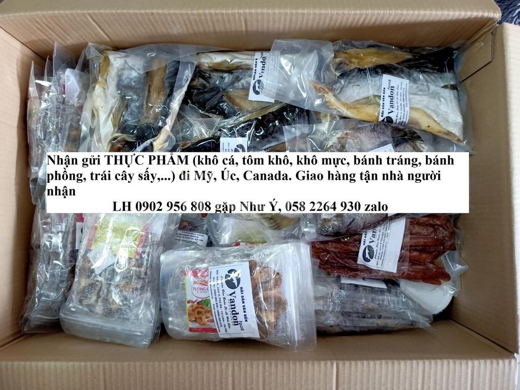 Gửi khô cá, khô mực, đồ ăn vặt đi Mỹ, Úc, Canada tại Cần Thơ