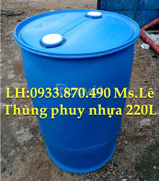 Mua thùng phi sắt 220L nắp kín loại cũ, thùng nhựa 220L đựng hóa chất