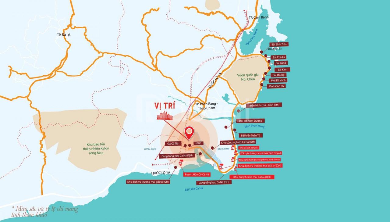 Kẹt tiền bán gấp: đất nền khu du lịch Hòn Cò Xã Cà Ná hướng Đông Bắc