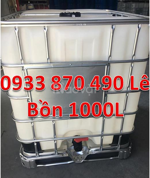 Bồn tank ibc 1000L đựng hóa chất, tank nhựa 1000l vuông đựng hóa chất