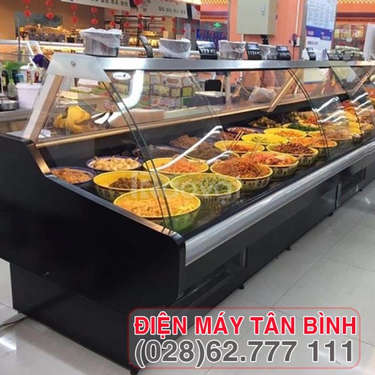 Tủ mát kính cong trưng thực phẩm tự chọn  (ảnh 1)