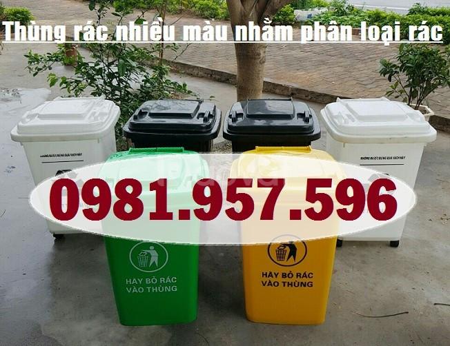Thùng rác 60L bánh xe, thùng rác Y tế 4 màu