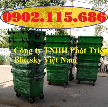 Xe rác nhựa 660l, thùng rác nhựa 660l, thùng rác công nghiệp 660l, xe
