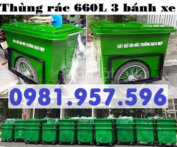 Thùng rác bánh xe 660L, thùng rác công cộng 660L