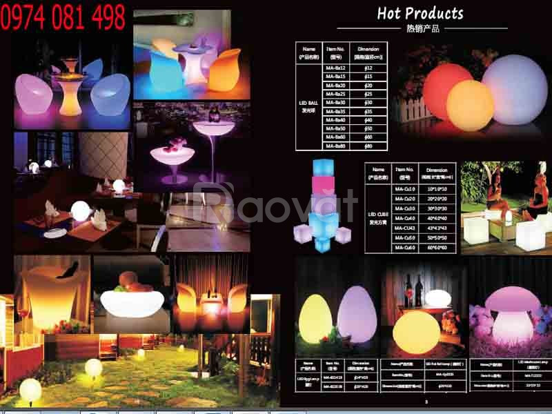 Bàn ghế nhựa led, bóng ngủ led, bàn ghế đèn led (ảnh 4)