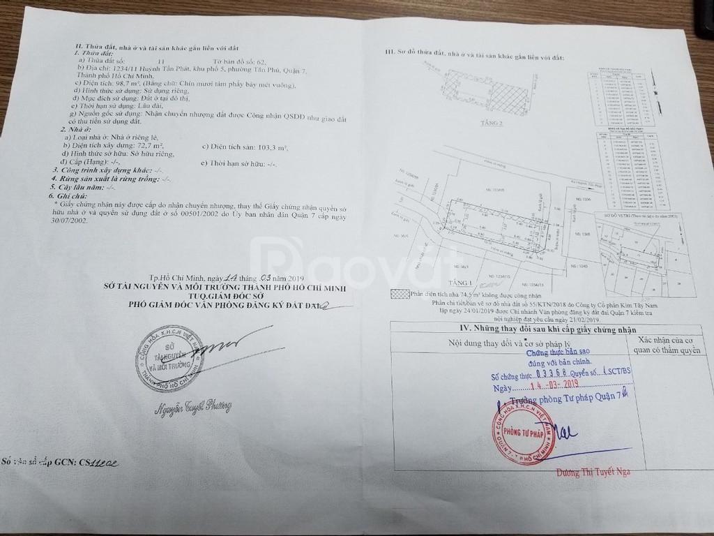 Chính chủ bán nhà Huỳnh Tấn Phát, Quận 7, đang cho thuê thu nhập tốt.