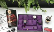 Khay chứa 13 đồng hồ và trang sức da vân cá sấu