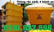 Xe rác dung tích lớn, xe đẩy rác công nghiệp, xe rác nhựa 660L