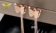 Bông tai titan mặt bướm cát mix dây dài 420