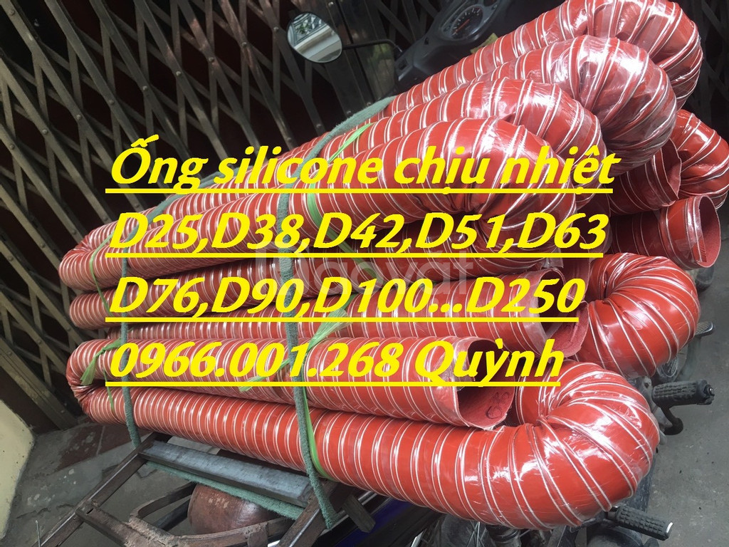 Ống silicone chịu nhiệt màu cam phi 51,phi 63,phi 76,phi 100 hàng sẵn