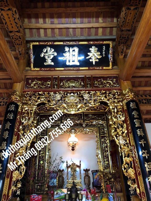Mẫu hoành phi câu đối thờ bằng gỗ cho gia tiên nhà thờ họ