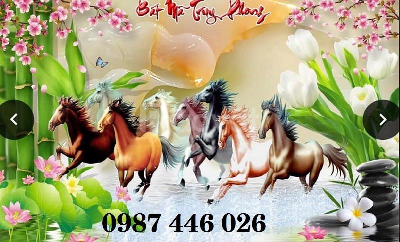 Gạch tranh ngựa, tranh phong thủy, tranh phòng khách HP614