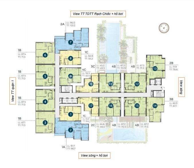 Precia căn góc 2 phòng ngủ hướng tây nam 71m2 giá gốc chiết khấu 2%