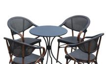 Bàn ghế café giả gỗ hiện đại