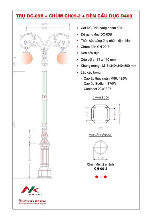 Cột đèn sân vườn đẹp DC05-B