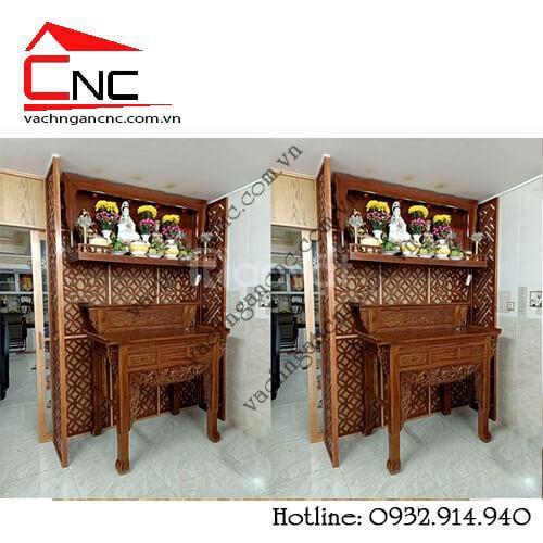 Mẫu vách ngăn bàn thờ treo tường giá rẻ trong phòng khách