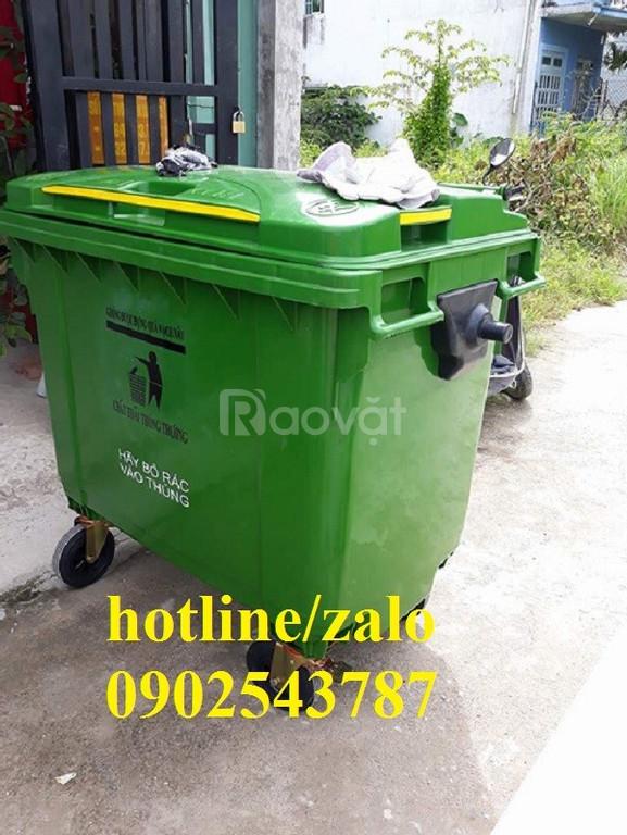 thùng rác công cộng 660 lít ,xe thu gom rác thải 660 lít giá rẻ ,