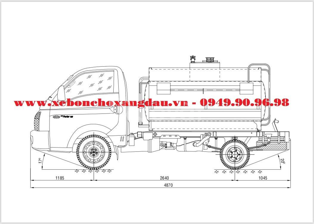 Ra mắt xe bồn nhôm 2 khối Hyundai H150 chở xăng dầu