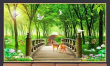 Gạch tranh phòng khách rừng cây
