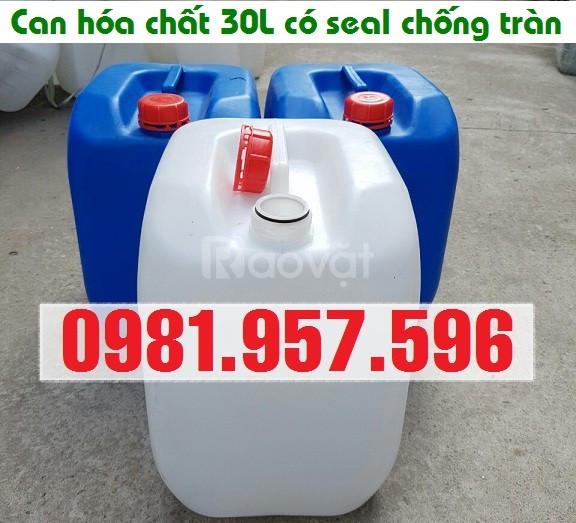 Can nhựa xanh 30L, can nhựa trắng 30L, can có seal chống tràn