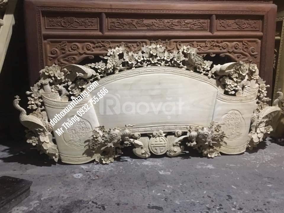 Mẫu cuốn thư bằng gỗ đẹp cho thờ tư gia, nhà thờ họ