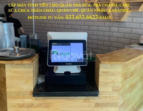 Bán máy pos tính tiền 2 màn hình cho quán trà sữa tại Long An