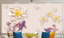Tranh cá chép hoa sen, tranh ốp tường 030
