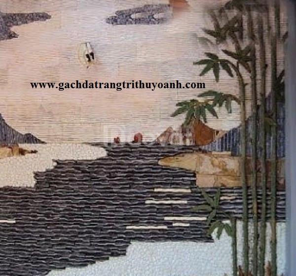 Đá răng lược trắng ốp lát trang trí tường.