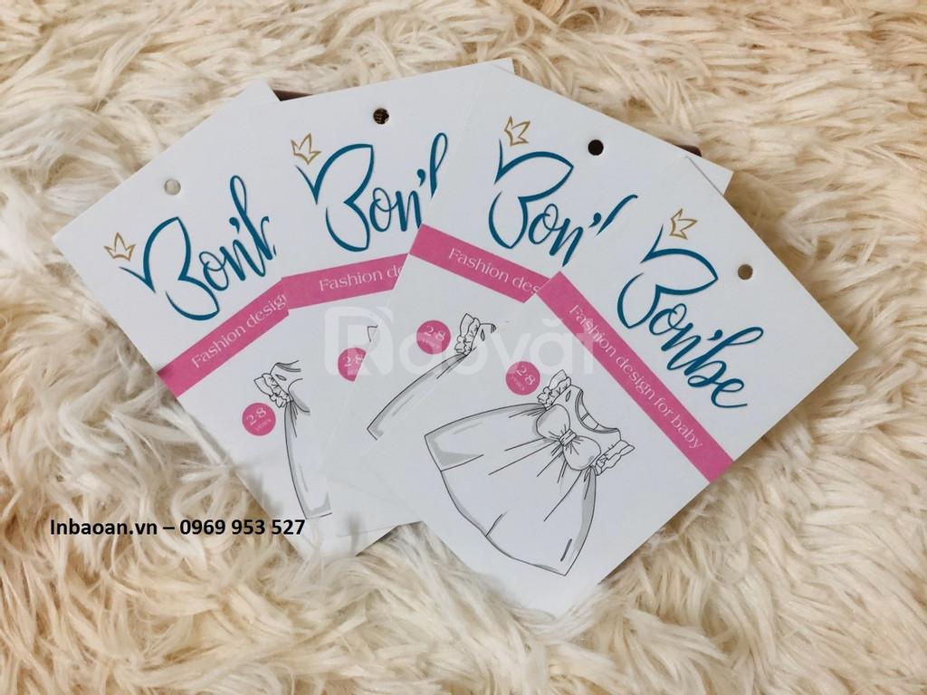 In tag mác quần áo giá rẻ,miễn phí thiết kế.