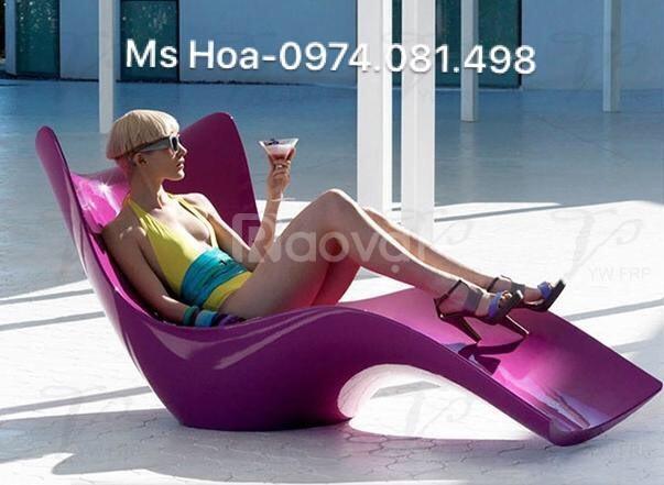 Ghế bể bơi fiberglass, ghế tắm nắng ngoài trời composite (ảnh 6)