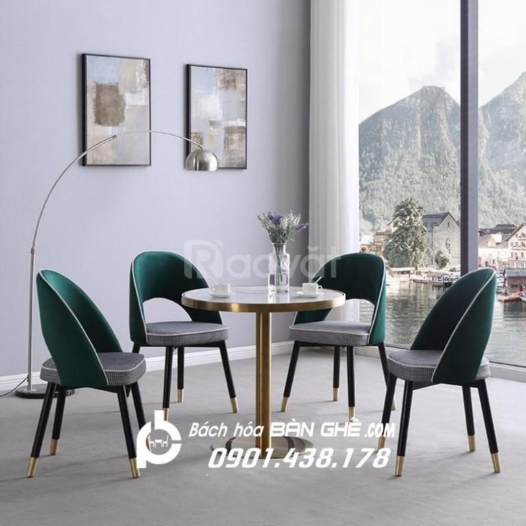 Ghế nệm bọc vải nhung GLM122, ghế quán cafe vip, ghế cafe nệm nhung