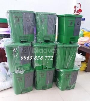 Thùng rác đạp chân 2 ngăn - thùng rác văn phòng