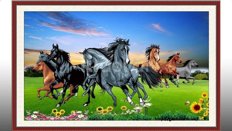 Gạch tranh 3d phong thủy tranh con ngựa