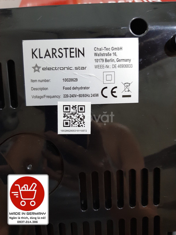 Máy sấy thực phẩm, hoa quả Klarstein (Made in Germany)