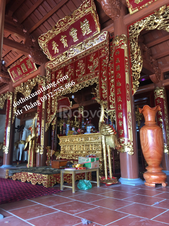 Mẫu hoành phi câu đối bằng gỗ đẹp thờ gia tiên, nhà thờ họ, đình đền